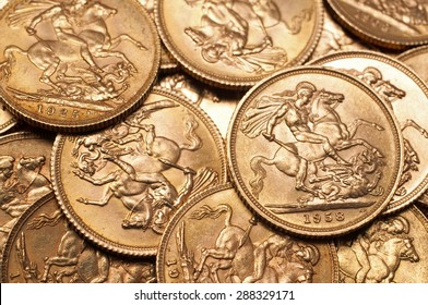 Background of British gold sovereign coins
