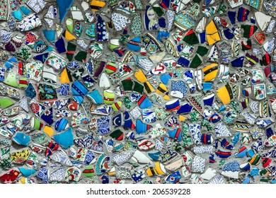 Background broken glass debris, design of street wall in Istanbul, Turkey