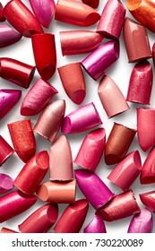 Background of broken lipsticks