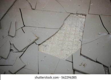 The background of broken tiles