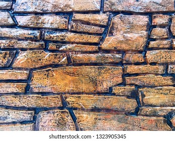 Background - brown stone wall covered with a thin layer of ice.