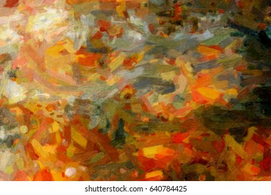 The background brushstrokes of oil paint of different colors. Multicolor texture traces of oil paint. Canvas with strokes of paint