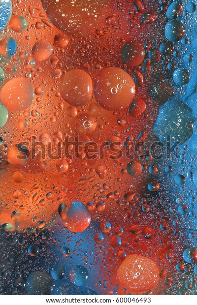 Background with bubbles in orange and blue colors