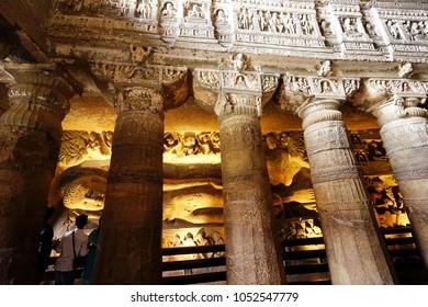 Background Buddha statue of dome Ajanta cave India