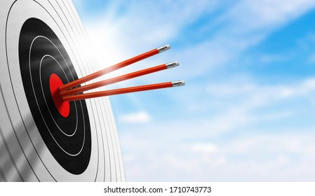 background for business. Successfully Target board with red pencil on sky in morning. concept trick accuracy, on target, achievement, perfection, and accomplishment.