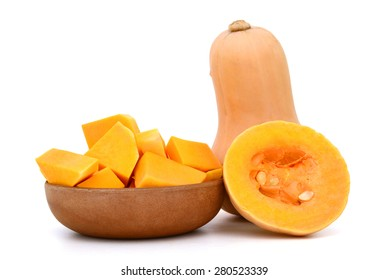 background of butternut squash isolated on white