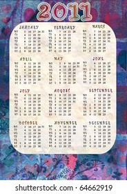 background with calendar 2011