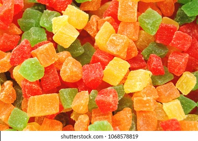 Background candied colorful  fruit. Pineapple bits.