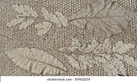 Background  Cement Bedrock Real Leaves