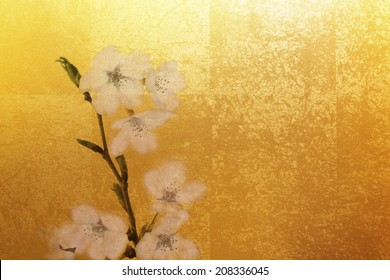 Background Of Cherry Blossoms And Gold Folding Screen