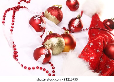 Background of Christmas balls and other stuff