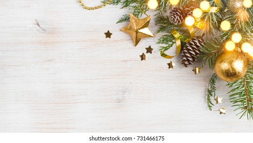 Background of Christmas decoration and glitters, copy space on side