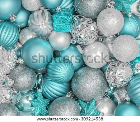 background from christmas decorations spheres in turquoise color scale