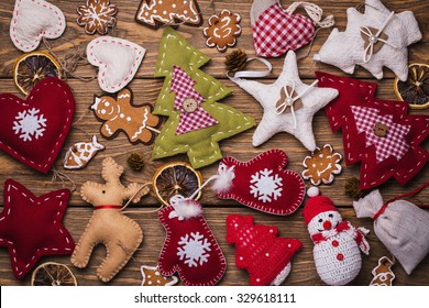 Background of Christmas toys, top view