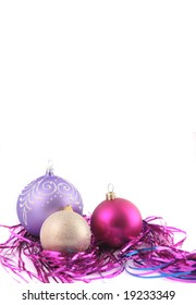 Background with a christmas-tree decoration different color.