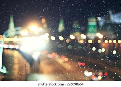 background city lights snow winter christmas - Shutterstock ID 226098664