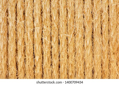 Background of coarse sisal ropes in the sunlight