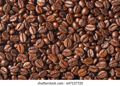 background of coffee beans, top view