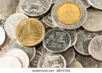 Background of the coins of Thailand.