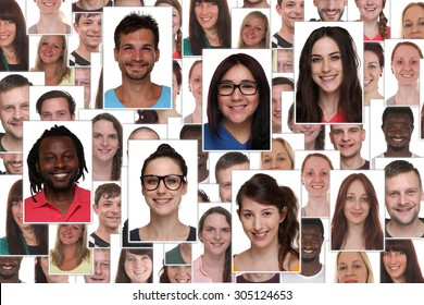 Background collage group portrait of multiracial young smile smiling people