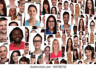 Background collage group portrait of young smile smiling many people
