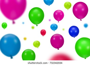 Background of color party balloons on white background