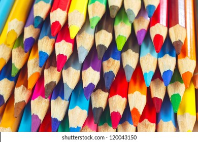 Background of colored pencils for creativity closeup