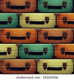 Background of colored suitcases.