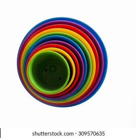 Background of colorful circles, concentric circles from plastic cups