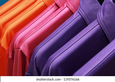 background of colorful clothes on a hanger