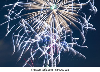 Background colorful Fireworks display in horizontal frame