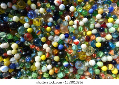 Background of Colorful Glass Marbles