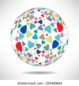 Background of colorful hearts in the shape of balls with space for text