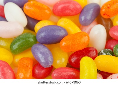 background of colorful jelly beans candy in closeup