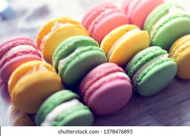 background from colorful macaroons