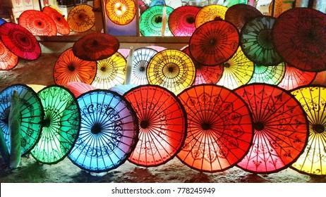 background Colorful  paper umbrellas selling  in Bagan, Myamar