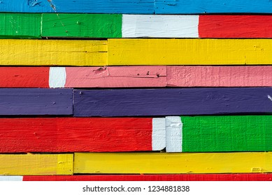 Background from a colorful plank wall