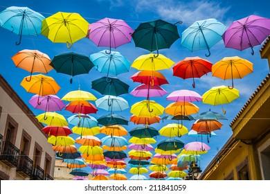 Background colorful street decoration,Madrid