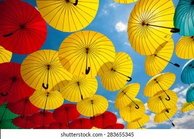 Background colorful umbrella street decoration