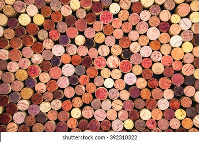 a background of colorful wine corks