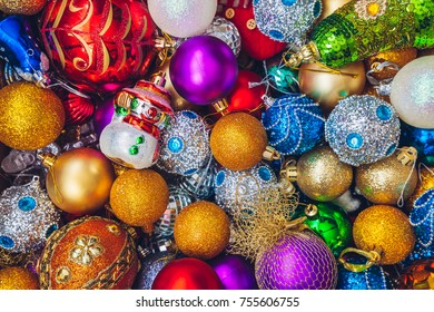 Background with colourful Christmas holiday decorations