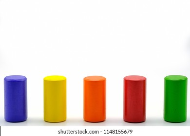 background of colourful cylinder shape wood with space
