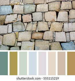 Background of colourful stone blocks In a colour palette with complimentary colour swatches.