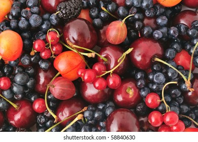 Background composed of different berries: cherries, blueberries, mulberries, gooseberries and red currant