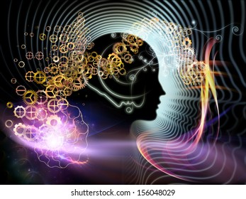 Background composition of  human feature lines and symbolic elements to complement your layouts on the subject of human mind, consciousness, imagination, science and creativity