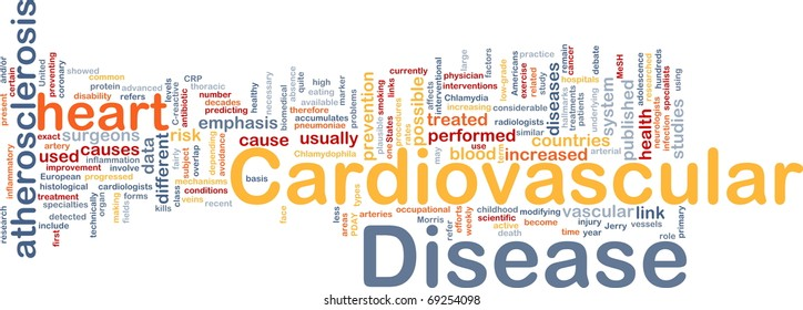 Background concept word cloud illustration of heart cardiovascular disease