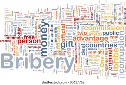 Background concept wordcloud illustration of bribery