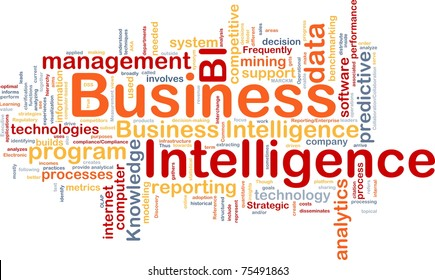 Background concept wordcloud illustration of business intelligence