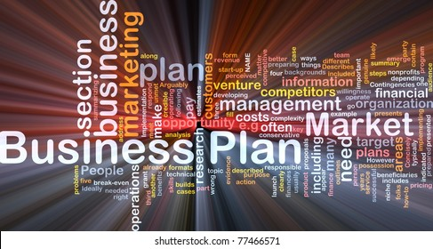 Background concept wordcloud illustration of business plan glowing light