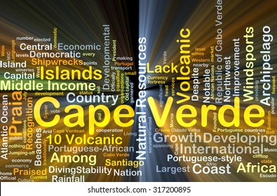 Background concept wordcloud illustration of Cape Verde glowing light